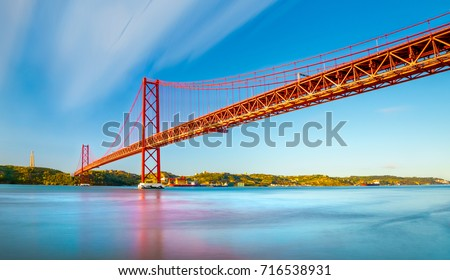 The 25 April bridge (Ponte 25 de Abril) is a steel suspension bridge located in Lisbon, Portugal, crossing the Targus river.  It is one of the most famous landmarks of the region. #716538931