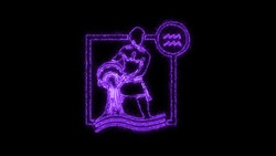 The Aquarius zodiac symbol, horoscope sign lighting effect purple neon glow. Royalty high-quality free stock of Aquarius sign isolated on black background. Horoscope, astrology icons with simple style