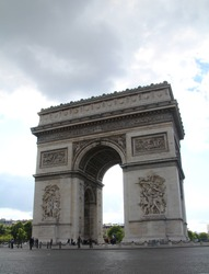 The Arc de Triomphe de l'Étoile, The Triomphe Arch of star, one of the most famous monuments in Paris, France. a French American ceremony at the Tomb of the Unknown Soldier,World War. Spring 2015