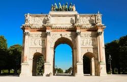 The Arc de Triomphe du Carroussel in Paris, France.