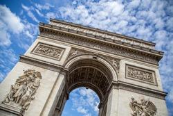 The Arc de Triomphe in Paris against a blue sky