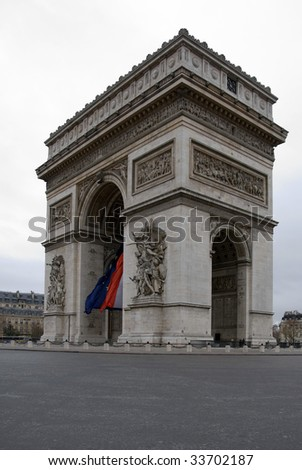 The Arc de Triomphe, Paris, France, on a cold, cloudy, Winter's day