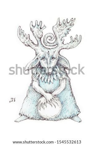 The arcana tarot card, vintage hand drawn illustration with mystic symbols.