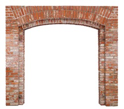 The arch for the gate of the village barn is made of red bricks. Isolated on white