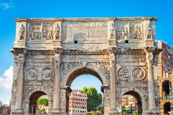 The Arch of Constantine (Arco di Costantino), a triumphal arch in Rome, situated between the Colosseum and the Palatine Hill in Rome, Italy