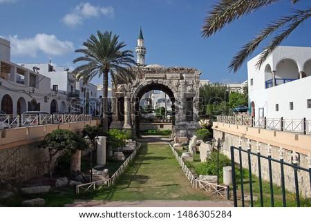 The Arch of Roman emperor Marcus Aurelius in Tripoli, Libya Stockfoto ©