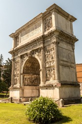 The Arch of Trajan (Italian: Arco di Traiano) is an ancient Roman triumphal arch in Benevento, southern Italy. It was erected in honour of the Emperor Trajan across the Via Appia