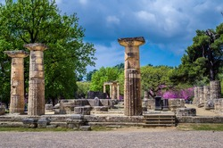 The archaeological site of ancient Olympia. The place where olympic games were born in classical times and where the Olympic torch today is ignited.