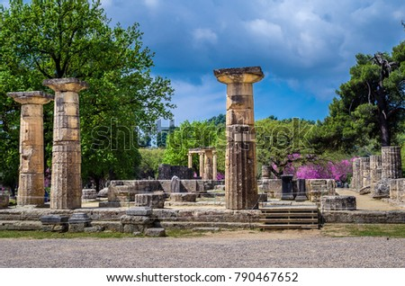 Photo of  The archaeological site of ancient Olympia. The place where olympic games were born in classical times and where the Olympic torch today is ignited.