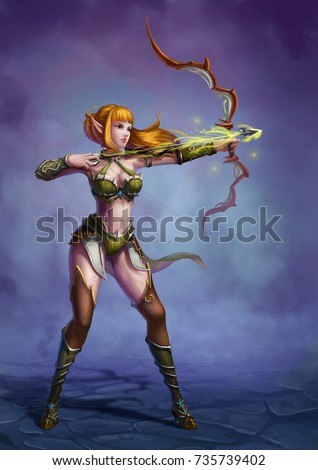 Stock Photo The Archer in the Medieval Fantasy World. Video Game's Digital CG Artwork, Colorful Concept Illustration, Realistic Cartoon Style Background