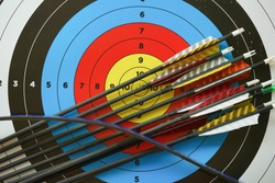 The archery board aiming with stick and traditional archery
