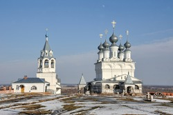The architectural ensemble of the Resurrection Convent in Murom on a beautiful sunny day during an early spring thaw. VLADIMIR REGION, RUSSIA
