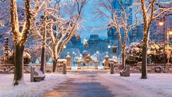 The architecture of Boston in Massachusetts, USA in the winter season showcasing the Boston Public Garden at Back Bay.