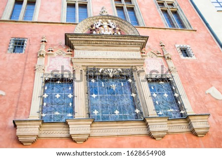 The architecture of the Old Town part of the Prague. Details and elements of architectural decorations on the facades of houses.