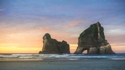 The Archway Rock at Wharariki Beach Golden Bay