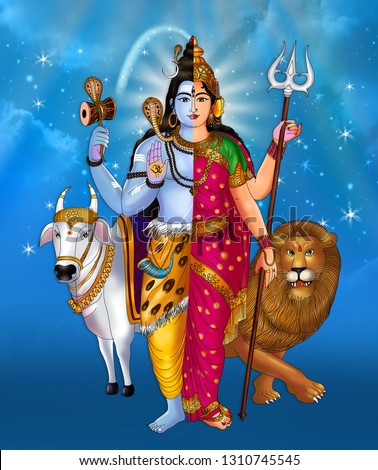The Ardhanarishvara is a composite androgynous form of the deities Shiva and Parvati. He is depicted as half-male(Siva in right) and half-female, equally split down the middle.