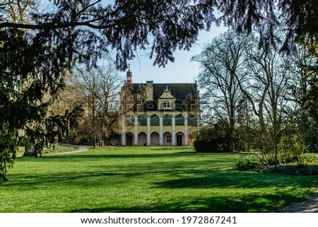 The area of Opocno castle with beautiful park in English style and Summer Residence in Renaissance style, Czech republic. Romantic garden architecture.Aristocratic residence in East Bohemia. Stock photo ©
