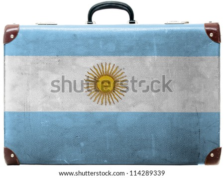 The Argentine flag painted on  painted on  old grungy travel suitcase or trunk