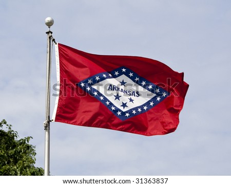 The Arkansas State Flag flying in the wind