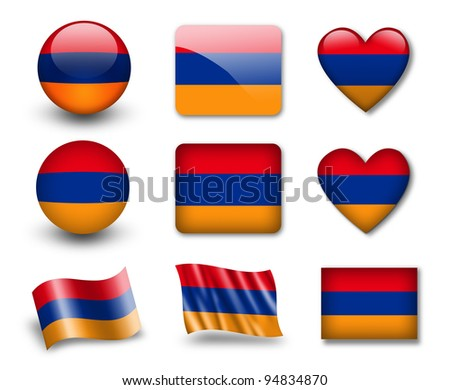 The Armenian flag - set of icons and flags. glossy and matte on a white background.