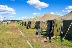 the Army camp at a sunny day