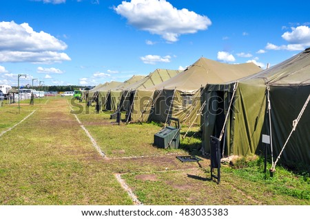 the Army camp at a sunny day #483035383