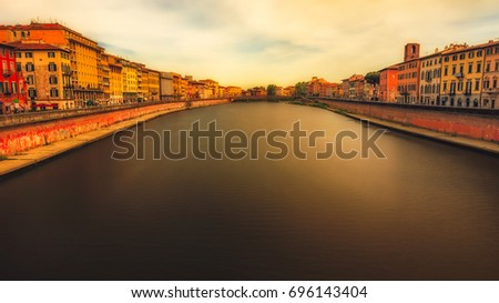 The Arno is a river in the Tuscany. It is the most important river of central Italy after the Tiber. The river turns to the west passing through Florence, flowing into the Tyrrhenian Sea