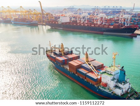 the arrival of the containers ship vessel to the main entrance of the port, transport of the shipment cargo service from loading port, delivery to destination port under logistics system