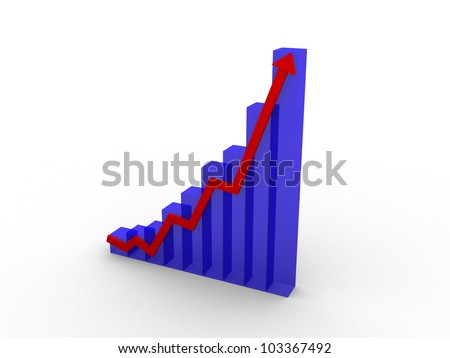 The arrow of the diagram shows growth and success. 3d render illustration