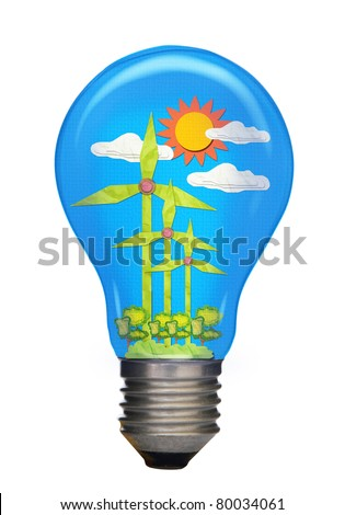 The art of wind turbines produce electricity created by paper craft stick in a lamp cap on white background.