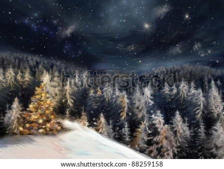 The art picture with night forest, christmas tree in yellow light