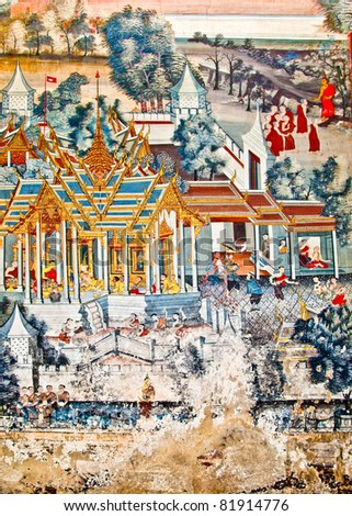 The Art thai painting on wall in temple. This is traditional and generic style in Thailand. No any trademark or restrict matter in this photo.