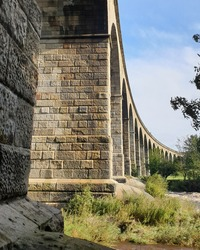 The Arthington Viaduct across the River Wharfe, 21 arches it carries the Leeds to Harrogate railway and was built in 1845