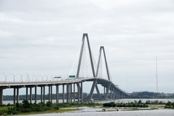 The Arthur Ravenel Jr. Bridge a cable-stayed bridge over the Cooper River in South Carolina, US, connecting downtown Charleston to Mount Pleasant