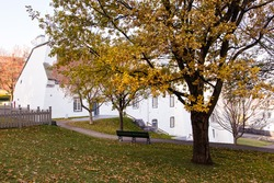 The Artillery Park Heritage Site in the Fall, with the 18th Century Dauphine Redoubt in the background, Quebec City, Quebec, Canada