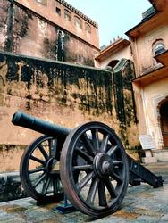 The Artillrey of Nahargarh Fort. Artilleryis a class of heavy militaryranged weaponsbuilt to launchmunitionsfar beyond the range and power ofinfantry'ssmall arms. Early artillery development foc