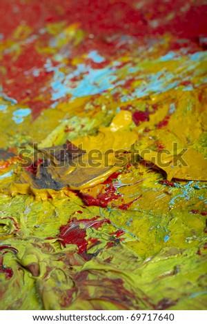 The artist\'s palette. Acrylic. Studio macro.