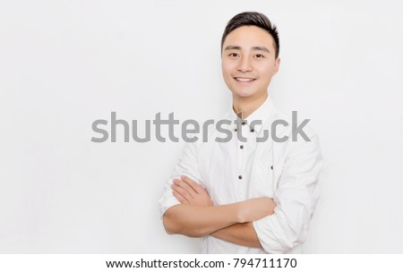 The Asian men in white shirts are before the white background