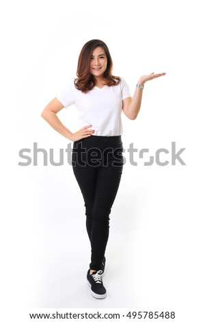 The Asian woman on the white background. #495785488