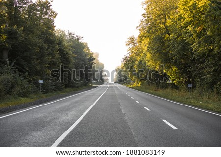 The asphalt road outside the city and thick fog above it in the morning