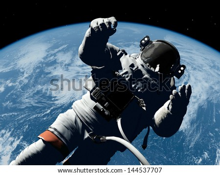 """The astronaut  in outer space""""Elemen ts of this image furnished by NASA"""""""
