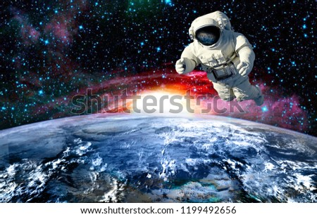 the astronaut in outer space witch mission.elements of this image furnished by NASA #1199492656