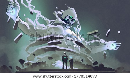 the astronaut looking at futuristic giant, digital art style, illustration painting