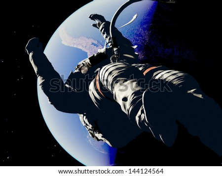 The astronaut on a background of a planet Elemen ts of this image furnished by NASA