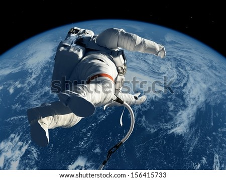 "The astronaut  on the background of the planet.""Elements of this image furnished by NASA"""