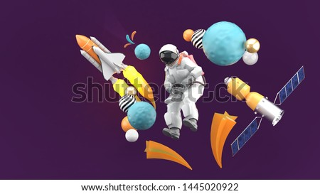 The astronauts are surrounded by space shuttle, meteorites and satellites on a purple background.-3d rendering.