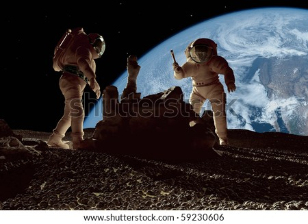 The astronauts on a background of a planet
