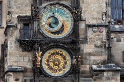 The Astronomical Clock at Old City Hall at the Market Square in Prague, Czech Republc