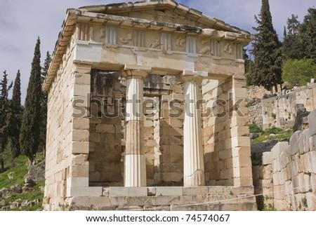 """The """"Athenian Treasury"""" near Apollo's temple in Delphi, Greece"""