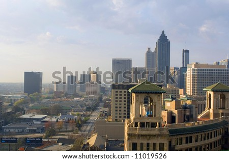 the Atlanta Georgia skyline during a sunrise - stock photo